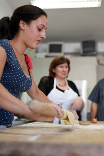 And then you need to roll the dough flat enough. Carola showed her skills on this one.